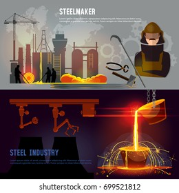 Steel industry banner, iron and factory workshop. Steel worker. Metallurgy process. Hot steel pouring in steel plant. Smelting of metal in big foundry