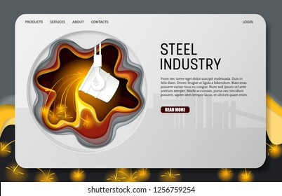 Steel industry landing page website template. Vector paper cut ladle for melting steel. Melting iron process. Metallurgical industry.