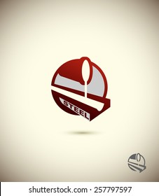 steel industry logo. Concept design for factory. Corporate emblem