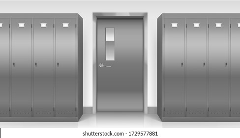 Steel lockers and door, vector school, office, gym or pool changing room metal cabinets and entry. Row of grey storage furniture with closed doors in college or university, Realistic 3d illustration