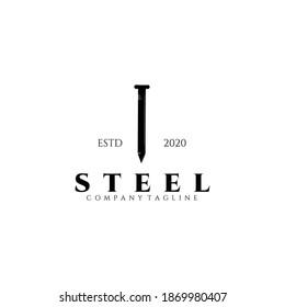 Steel logo vector illustration design, steel nail