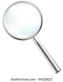 Steel Magnifier, Isolated On White