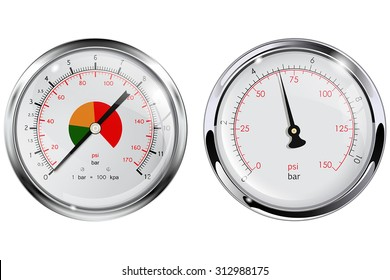 Steel Manometer for water pipes. Chrome frame. Vector isolated on white.