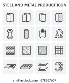 Steel and metal product such as tube pipe reinforcement plate for construction automotive food and other industry work, Product of iron and steel industry, vector illustration icon set design.