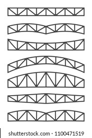 Steel metal trusses. Designs vector illustration. Set of different beams.