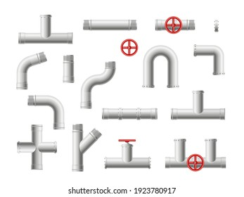 Steel metal water, oil, gas pipeline, pipes sewage. Round valves and pipe connection with bolts.