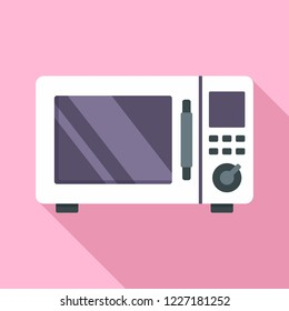 Steel microwave icon. Flat illustration of steel microwave vector icon for web design