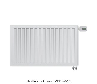 Steel panel radiator. Electronic thermal head in the thermostatic valve. Bottom right side connection to the heating system. HVAC vector illustration.