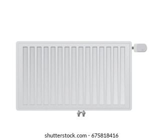 Steel panel radiator on a white background. Mechanical thermal head vector illustration. Bottom middle connection to the heating system.