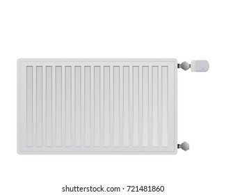 Steel panel radiator right side connection for heating rooms in winter. HVAC system vector illustration.