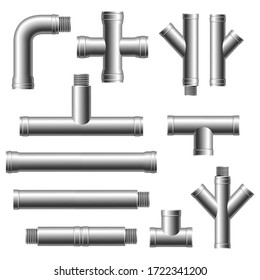 Steel pipe fittings. Plumbing, water pipes sewage. Different types collection of water tube. Industry gas valve.