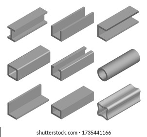 Steel pipe, metallic profile and beam. Metall industry, iron or steel signs. Construction material set. Vector illustration isolated on white background.