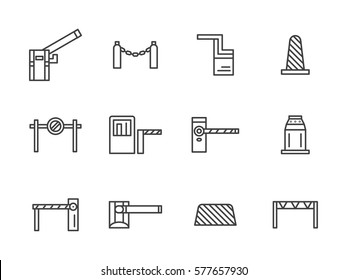 Steel and plastic barriers for traffic control. Set simple line style icons