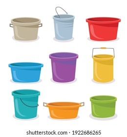 Steel and plastic buckets flat illustration set to complete your design