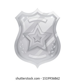 Steel police officer badge icon protection insignia law order isolated decoration vector design illustration
