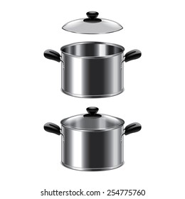 Steel pot isolated on white photo-realistic vector illustration