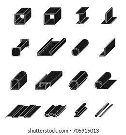 Steel product set. Pipe production, high quality strip and long iron elements in black. Vector line art illustration isolated on white background
