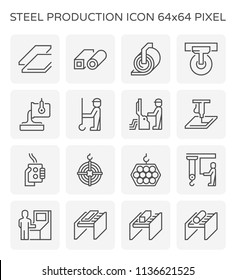 Steel production and pipe icon set, 64x64 perfect pixel and editable stroke.
