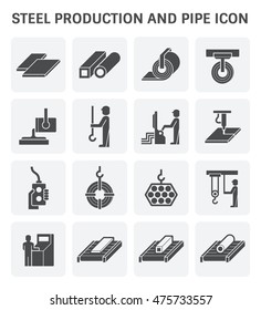 Steel production and pipe vector icon set design.
