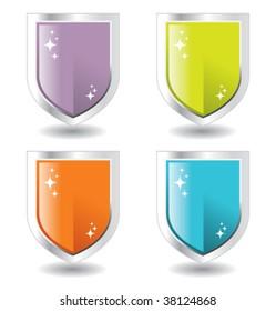 steel and purple, green, orange blue shields