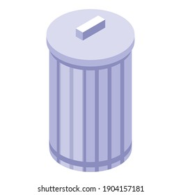 Steel recycle bin icon. Isometric of steel recycle bin vector icon for web design isolated on white background