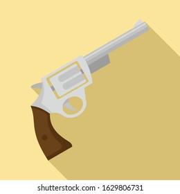 Steel revolver icon. Flat illustration of steel revolver vector icon for web design