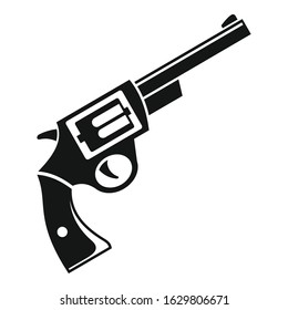 Steel revolver icon. Simple illustration of steel revolver vector icon for web design isolated on white background