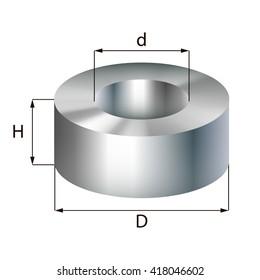 Steel ring industrial metal object. Vector illustration. EPS 10.