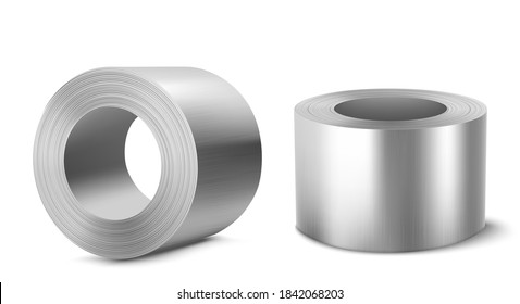 Steel rolls, heavy metallurgical industry, industrial manufacturing business production shiny metal stainless iron or aluminum cylinders isolated on white background, Realistic 3d vector illustration