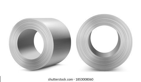 Steel rolls, industrial manufacturing business production, heavy metallurgical industry shiny metal stainless iron or aluminum cylinders isolated on white background, Realistic 3d vector illustration