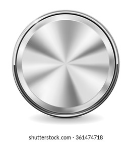 Steel round button with chrome frame. Vector illustration isolated on white background