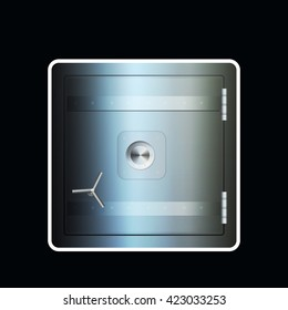 Steel safe icon n vector. Iron with grey and blue shadow