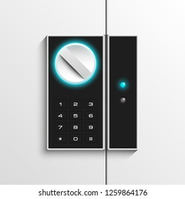 Steel safe pin code entry panel image. Armored box background. Door safe bank vault combination lock. Reliable Data Protection. Long-term savings. Deposit box safe icon.Protection personal information