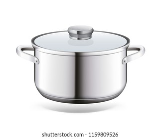 Steel saucepan on a white background. Vector illustration template ready for your design. EPS10.