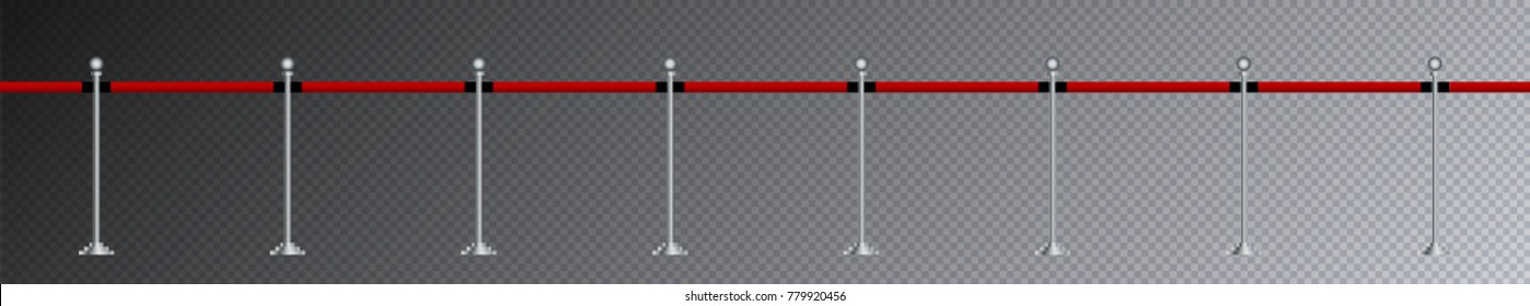 Steel seamless barricade with red band isolated on transparent background, stop security zone barrier used in theater premiere, gala festival celebration, party, museum exhibition, vector illustration
