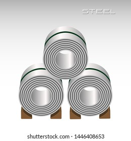 Steel sheet in coil, 3 rolls stacking, icon logo metal sheet industries, 3D isolated vector
