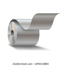 Steel sheet roll on white background