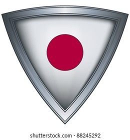 Steel shield with flag Japan