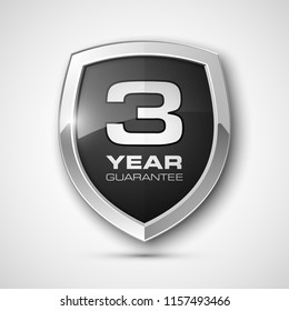 Steel shield with text guarantee three year icon. Warranty 3 year Label obligations. Safeguard metal shield sign. Protect promise reliability badge. Security guaranteed three year shield illustration