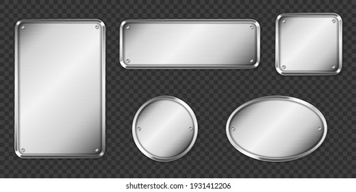 Steel or silver plates, name plaques empty mockup. Metal grey identification tags or badges, round, oval and rectangular frame for nameplate isolated on transparent background, realistic 3d vector set