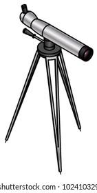 A steel spotting telescope on a tripod.