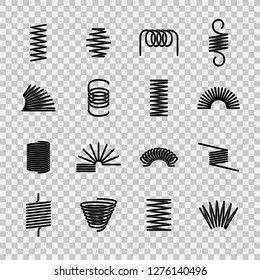 Steel spring. Spiral coil flexible steel wire springs shape. Absorbing pressure equipment black line vector icons