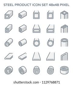 Steel structural product such as beam tube and pipe variety of shape for construction material, Steel construction material, Product of iron and steel industry, vector illustration icon set design.