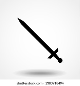 Steel sword vector icon illustration isolated on white background