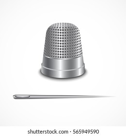 Steel thimble and needle for sewing. Vector illustration on white background