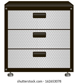 Steel tool box with drawers. Vector illustration.