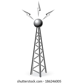steel tower with metal antenna