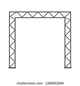 Steel truss girder 3d construction. Metal truss framework vector illustration