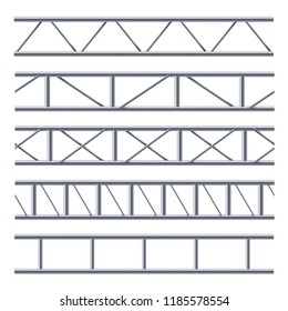 Steel truss girder seamless pattern on white. Construction used for long span bridges, banners, signage and various industry decoration. Vector realistic illustration on white background