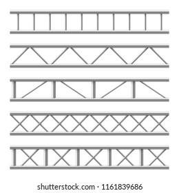 Steel truss girder seamless structure. Metal framework for billboard. Isolated vector set. Illustration of metal steel structure, frame construction industrial
